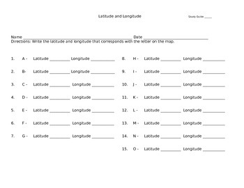 Latitude and Longitude Study Guide -- Series 1 and 2