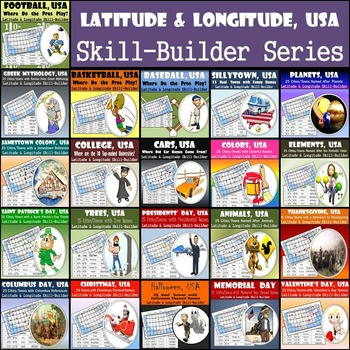 Latitude and Longitude, USA Activity - 21-Pack Series!  Save 50%!