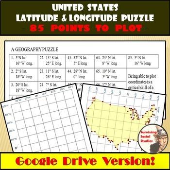 Latitude and Longitude - United States Coordinates Puzzle - Google Drive Version