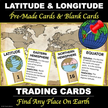 "Latitude and Longitude ""Vocabulary Cards"""