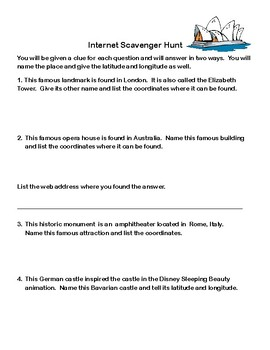 Latitude and Longitude Webquest or Internet Scavenger Hunt  Grades 5-10