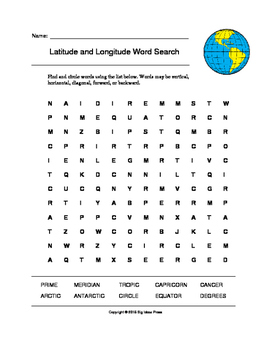 Latitude and Longitude Word Search (Grades 3-5)