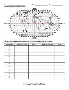 Latitude and Longitude Worksheet & Answer Key by Super ...