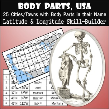 Latitude and Longitude Activity - Body Parts, USA
