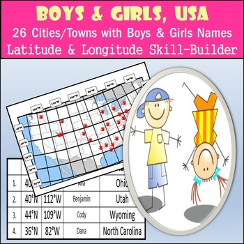 Latitude and Longitude Activity - Boys and Girls, USA - 26 Names from A-Z