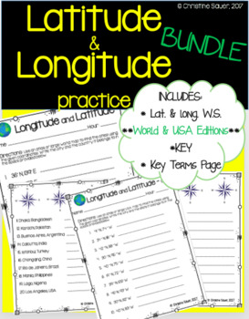 Latitude and Longitude Worksheet Bundle