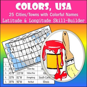 Latitude and Longitude Activity - Colors, USA