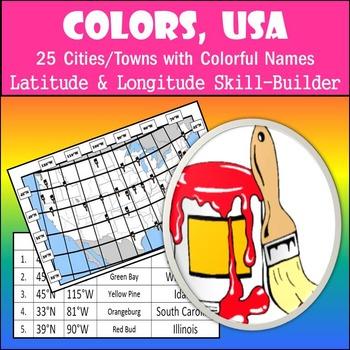 Latitude and Longitude Activity - Colors, USA