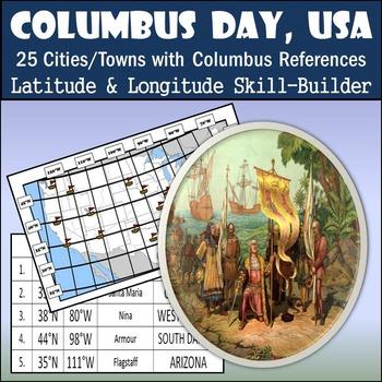 Latitude and Longitude Worksheet - Columbus Day, USA