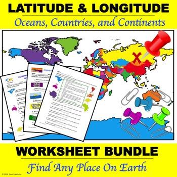 """Latitude and Longitude """"Worksheet Bundle"""""""