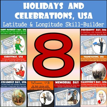 Latitude and Longitude Geography Bundle - Holidays & Celebrations, USA