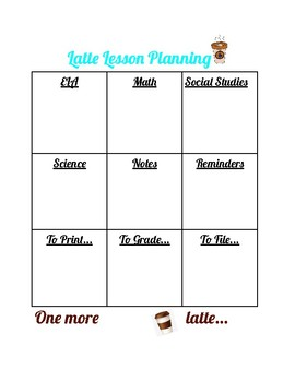 Latte Themed Lesson Planning Template