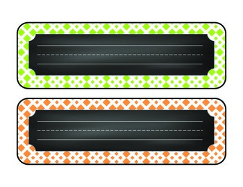 Lattice & Chalkboard Desk Name Plates