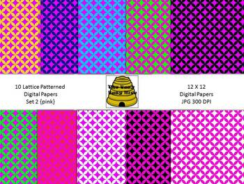 Lattice Digital Papers Set 2 Pink {10 backgrounds for personal & commercial use}