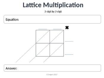 Lattice Math Multiplication Worksheets