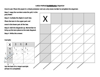 Lattice Method Graphic Organizer