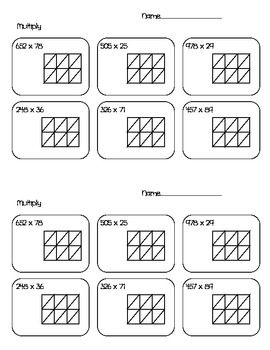 Lattice Method Multiplication Worksheets