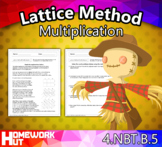 4.NBT.5 - Lattice Method Multiplication Worksheets