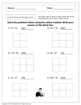 4.NBT.5 - Lattice Method Multiplication Worksheets