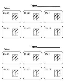 Lattice Method Multiplication Worksheets Everyday Math