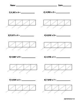 lattice multiplication 4 digits by 1 digit 10 pages by teacher vault. Black Bedroom Furniture Sets. Home Design Ideas