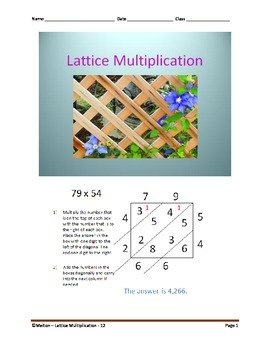 Lattice Multiplication (2 by 2)  - 12 Problems