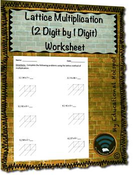 Lattice Multiplication (2 Digit by 1 Digit) Worksheet