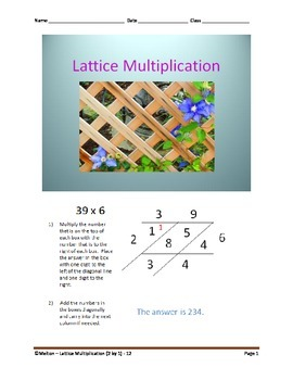 Lattice Multiplication (2 by 1) - 12 Problems