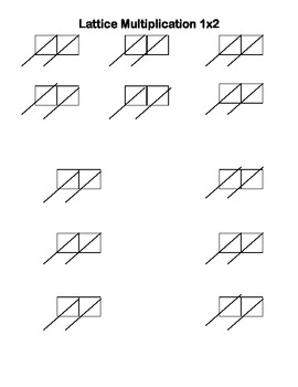 Lattice Multiplication Practice Sheets 1x2, 1x3, and 2x2