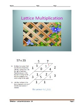 Lattice Multiplication (2 by 2) - 24 Problems
