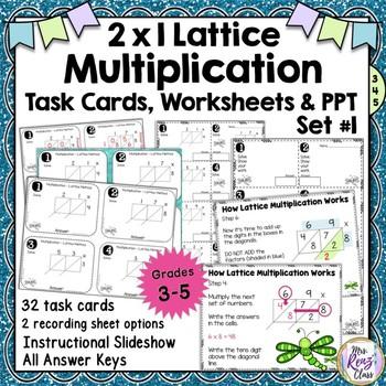 Lattice Multiplication 2x1 Digit Multiplication Task Cards Lattice Method Set 1