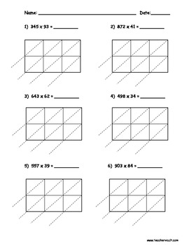 Lattice Multiplication 3 Digit by 2 Digit - 10 pages by Teacher Vault