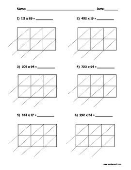 Lattice Multiplication 3 Digit by 2 Digit - 10 pages
