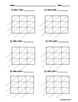 Lattice Multiplication Worksheets Teaching Resources | Teachers Pay ...