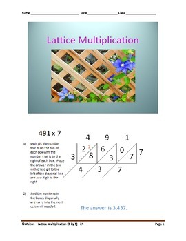 Lattice Multiplication (3 by 1) - 24 Problems