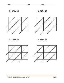 Lattice Multiplication (3 by 2) - 12 Problems