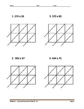 Lattice Multiplication (3 by 2) - 24 Problems