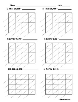Lattice Multiplication - 4 Digit by 4 Digit - 10 Pages
