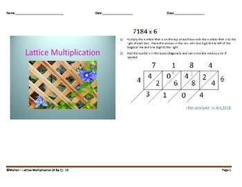 Lattice Multiplication (4 by 1) - 12 Problems