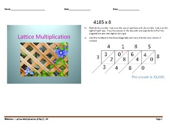 Lattice Multiplication (4 by 1) - 24 Problems