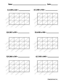 Lattice Multiplication 4 digit by 3 digit - 10 pages