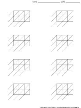 Lattice Multiplication: Blank Practice Sheet 3-digit by 2-