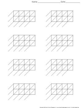 Lattice Multiplication: Blank Practice Sheet 4-digit by 2-digit Multiplication