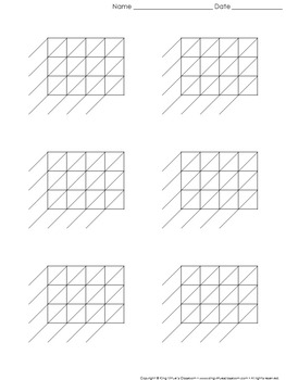 Lattice Multiplication: Blank Practice Sheet 4-digit by 3-