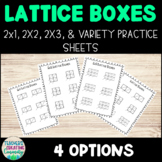 Lattice Multiplication Boxes: 1x2, 2x2, 2x3 Blank Practice Sheets