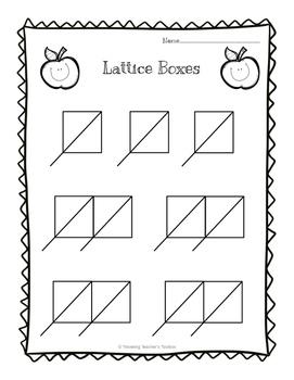 Lattice Multiplication Boxes Freebie