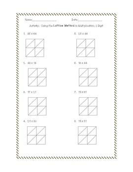 Multiplication Activity:  Practice with the Lattice Method!