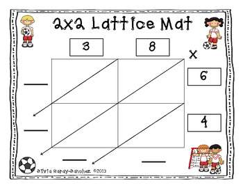 Lattice Multiplication Mats: 2x2, 3x2, 4x2