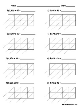 Lattice Multiplication 4 digit by 2 digit - 10 pages