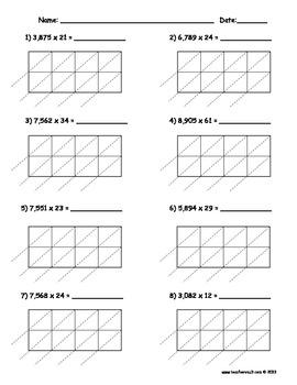 lattice multiplication 4 digit by 2 digit 10 pages by teacher vault. Black Bedroom Furniture Sets. Home Design Ideas